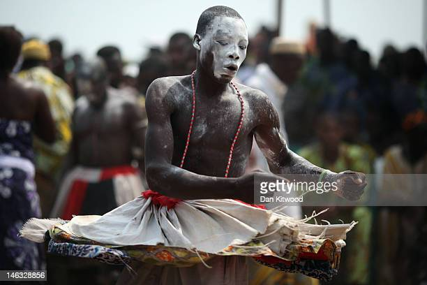 Voodoo dancer performs during the Voodoo festival on January 10 2012 in Ouidah Benin Ouidah is Benin's Voodoo heartland and thought to be the...