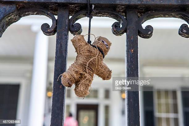 Voodoo doll tied to the front gate in celebration of the 'American Horror Story Coven' BluRay and DVD October 7th release at Buckner Mansion on...