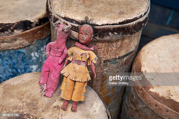 Voodoo dolls and traditional ceremonial drums