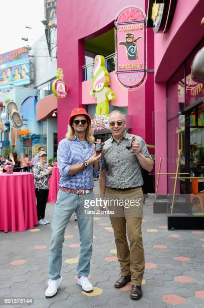 Voodoo Doughnut shop founders Kenneth Cat Daddy Pogson and Tres Shannon attend the grand opening of their new location at Universal Citywalk at...