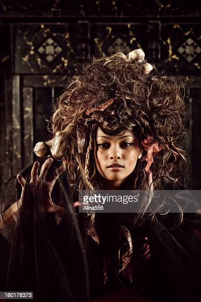 voodoo woman - african tribal face painting stock photos and pictures