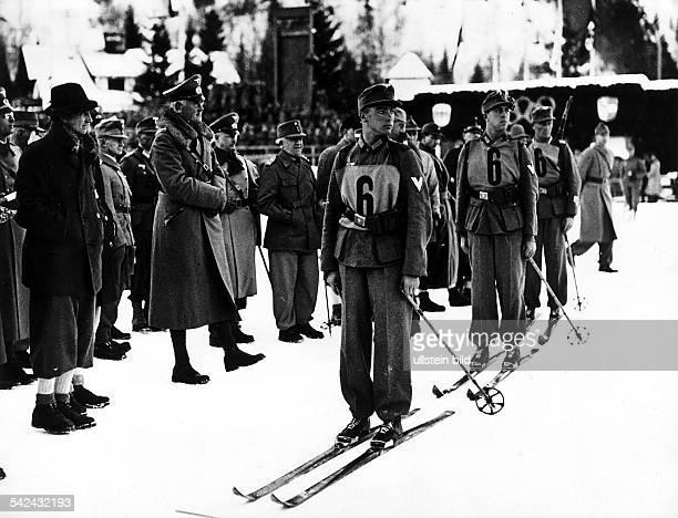 VorführungswettbewerbMilitärSkipatrouille Die deutsche Mannschaft am Start Februar 1936