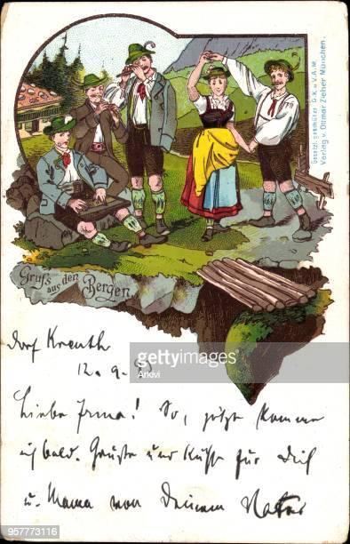Vorläufer Litho Männer und Frau in bayerischer Tracht Zither 1893 gelaufen 1893 Eckknicke fleckig sonst guter Zustand