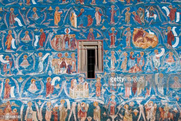 voronet monastery fresco detail, bukovina region, moldavia, romania - unesco stock pictures, royalty-free photos & images