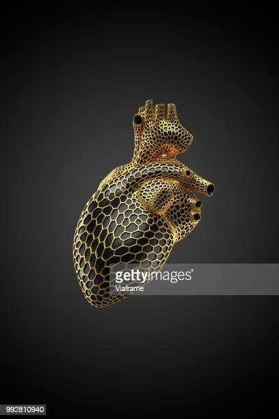 voronoi herz gold -hoch - coeur organe interne photos et images de collection