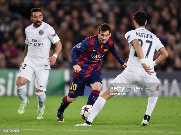 FUSSBALL CHAMPIONS LEAGUE SAISON 2014/2015 Vorrunde FC Barcelona Paris St Germain Lionel Messi gegen Javier Pastore und Ezequiel Lavezzi