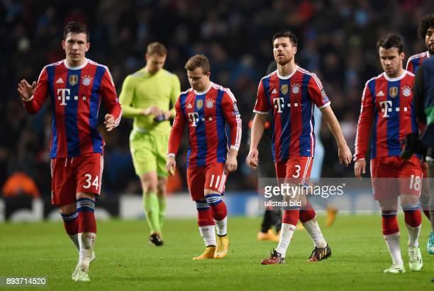 FUSSBALL CHAMPIONS LEAGUE SAISON 2014/2015 Vorrunde Manchester City FC Bayern Muenchen Enttaeuschung FC Bayern Muenchen Pierre Emile Hojbjerg Xherdan...