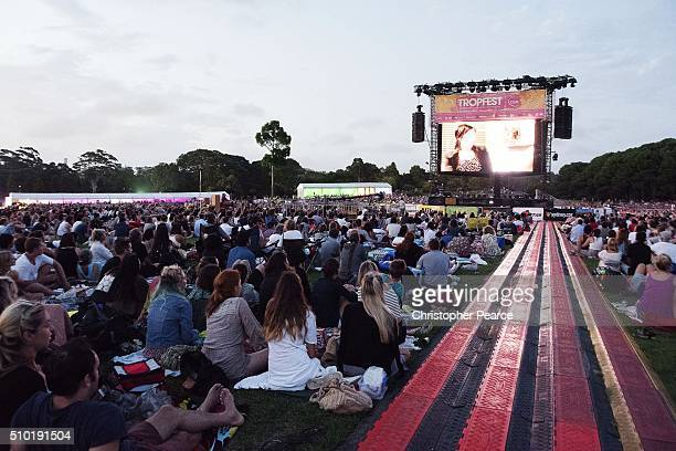 A vorwd watch the big screen during Tropfest 2016 at Centennial Park on February 14 2016 in Sydney Australia