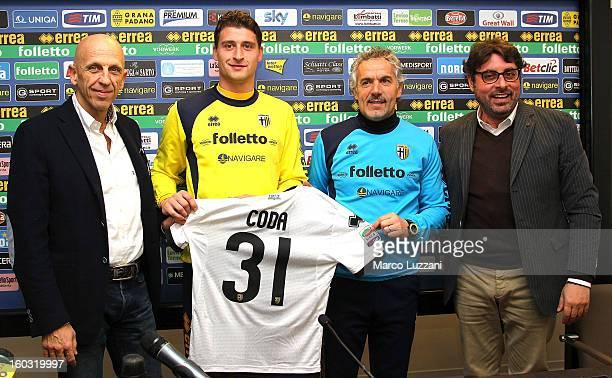 Vorwerk Folletto President Patrizio Barsotti new signing Andrea Coda Parma FC manager Roberto Donadoni and General Manager of Parma Pietro Leonardi...