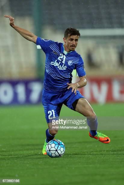 Vorya Ghafouri of Esteghlal in action during AFC Champions League match between Esteghlal vs Al Ahli FC at Azadi Stadium on April 25 2017 in Tehran...