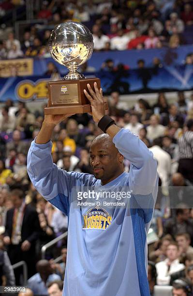 Voshon Lenard of the Denver Nuggets celebrates winning the Foot Locker ThreePoint Shootout part of the 53rd NBA AllStar weekend at Staples Center on...