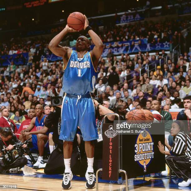 Voshon Lenard of the Denver Nuggets shoots during the Footlocker 3Point Shootout on February 14 2004 at Staples Center in Los Angeles California NOTE...
