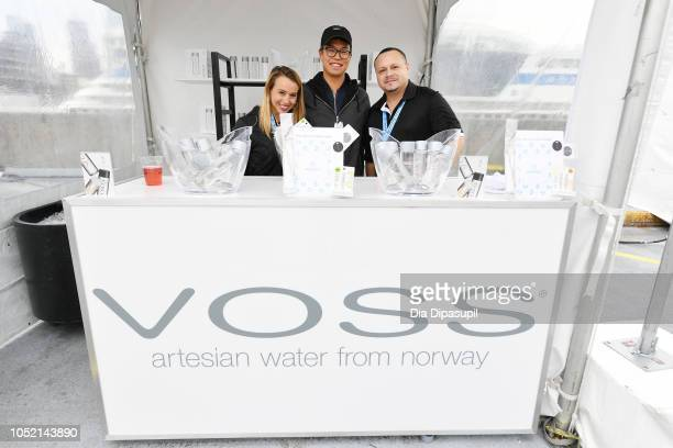 Voss Water booth on display at the Food Network Cooking Channel New York City Wine Food Festival Presented By Capital One Coca Cola Backyard BBQ...