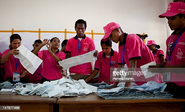 Vote Counting begins during Parliamentary Elections on July 7 2012 in Dili East Timor 21 parties are contesting in the country's first election...
