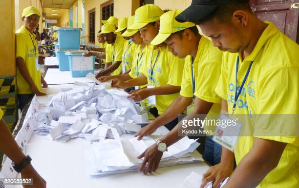 Vote counting is under way in Dili East Timor on July 22 following parliamentary elections ==Kyodo