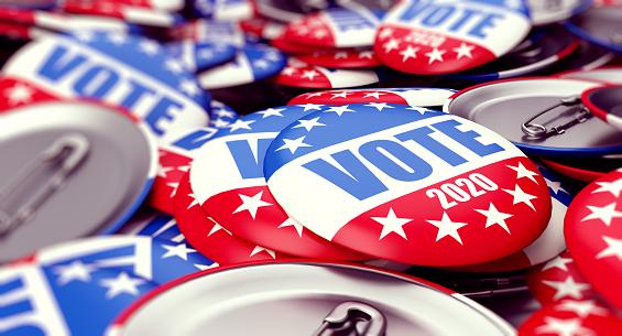vote election badge button for 2020 background, vote USA 2020, 3D illustration, 3D rendering 1141007609