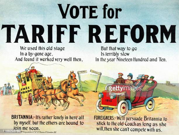 Vote for Tariff Reform; Lithographs showing Britannia sitting alone in a stagecoach named 'Free Trade; 1846' on the road to Prosperity, waiting to be...