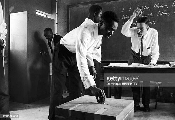 Vote in Belgian Congo in 1960 - Elections controlled by Belgians before independence granted in May 1960 under the name Democratic Republic of the...