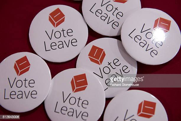 Vote Leave Badges at the UKIP Spring Conference on February 27 2016 in Llandudno Wales UKIP's annual national Spring Conference is being held for the...