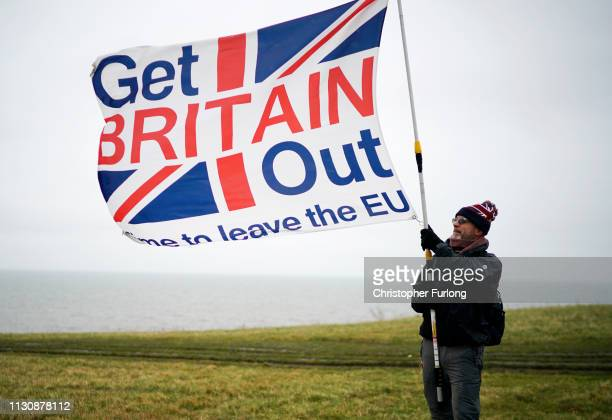 Vote Leave supporter in Grangetown, near Sunderland, at the beginning of the 'March to Leave' walk from the Port of Sunderland on March 16, 2019 in...
