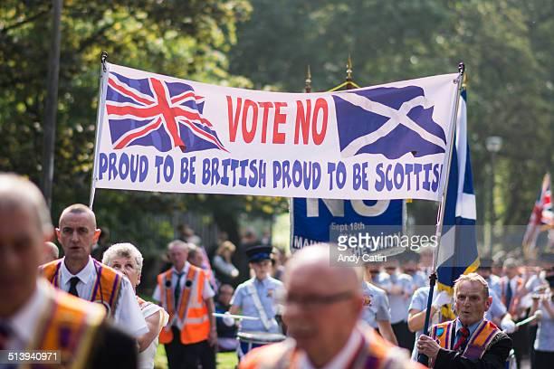 Vote No banner at the Orange Order March in Edinburgh on Sat 13 September 2014
