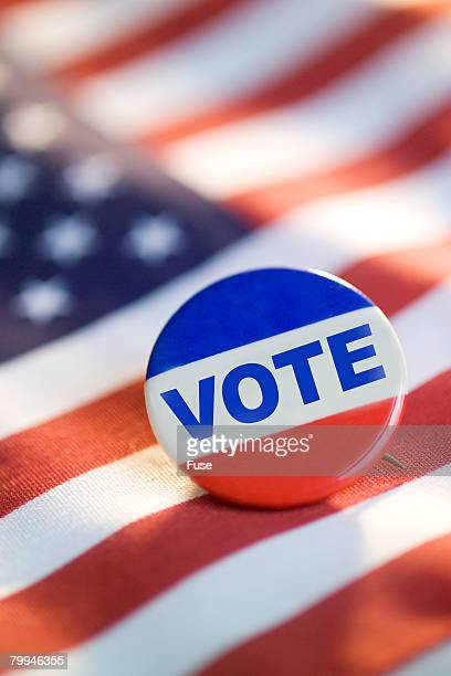 Vote Pin and American Flag