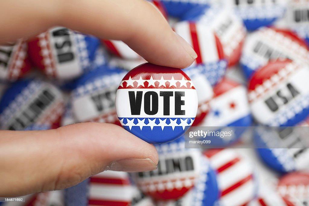 Votação pin para eleitoral americana : Foto de stock