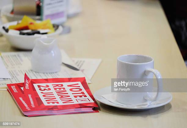 Vote Remain campaign literature is seen on a coffee table as Labour's Shadow Cabinet Minister Gloria de Piero meets with a group of women voters to...