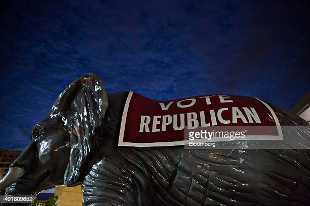 A Vote Republican elephant sculpture sits outside the Scott County Republican party Ronald Reagan Dinner in Davenport Iowa US on Tuesday Oct 6 2015...