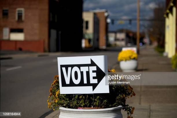 A vote sign in front of the Central Trinity United Methodist Church polling location on November 6 2018 in Zanesville Ohio Turnout is expected to be...
