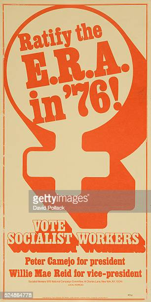 Vote Socialist Workers Party political poster showing female gender symbol surronding the slogan Ratify the ERA in '76