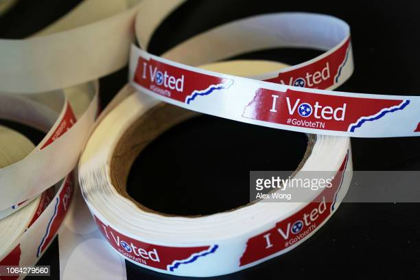I Voted stickers are seen at a polling station at the John P Holt Brentwood Library on Election Day November 6 2018 in Brentwood Tennessee Turnout is...