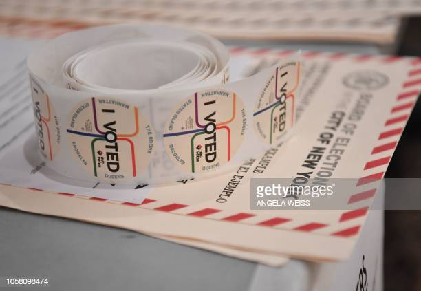 I Voted stickers are seen at the East Midwood Jewish Center polling station in the Brooklyn borough of New York City on November 6 2018 Americans...