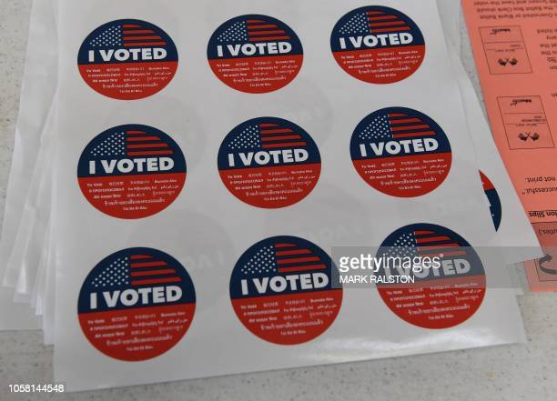 I voted stickers are viewed during the midterm elections beside the beach at the Venice Beach Lifeguard station in California on November 6 2018...