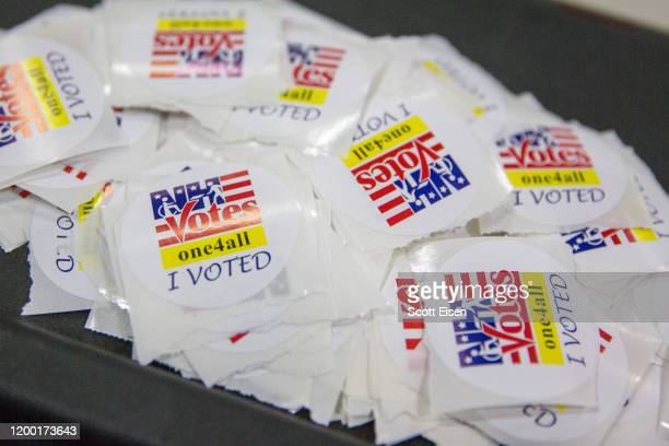 I Voted stickers at the Broken Ground School during the presidential primary on February 11 2020 in Concord New Hampshire Voters are at the polls...