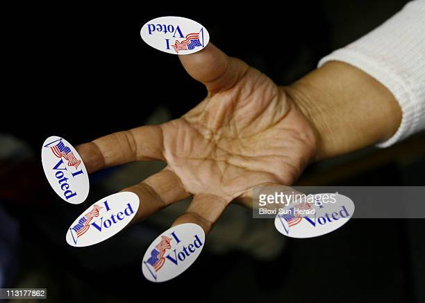 'I Voted' stickers await the last voters at North BelAire precinct at Klein Road Church of God in Gulfport Mississippi after 8 pm Tuesday November 4...