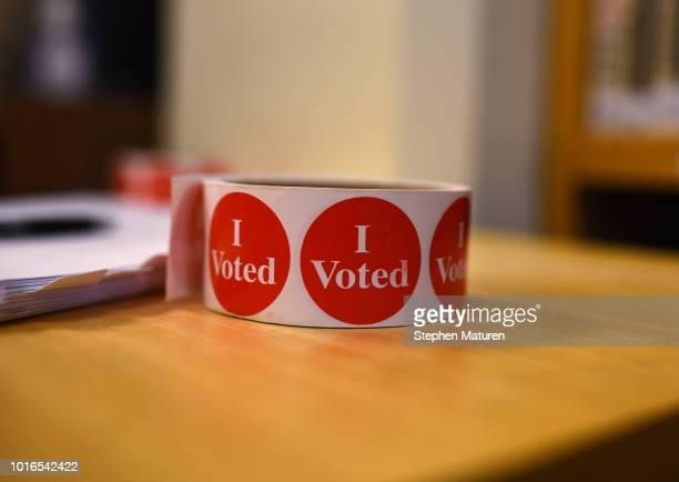 I Voted stickers await voters in the 2018 Minnesota primary election at a polling place in Holy Trinity Lutheran Church on August 14 2018 in...