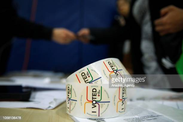 I Voted stickers lay at the entrance of High School Art and Design polling station in Manhattan New York United States on November 06 2018