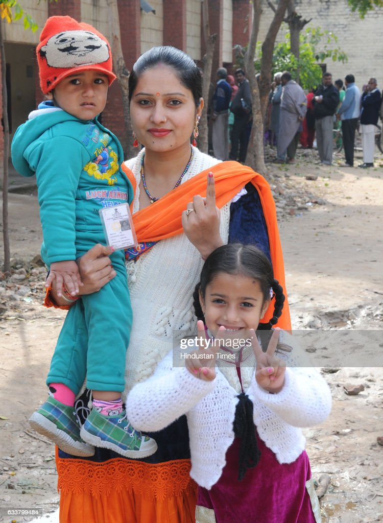 A voter after cast her vote during Punjab election at Kansal village on February 4 2017 in Kharar India Punjab on Saturday voted in its first and...