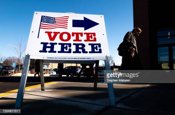 Voter arrives at a polling place on March 3, 2020 in Minneapolis, Minnesota. 1,357 Democratic delegates are at stake as voters cast their ballots in...