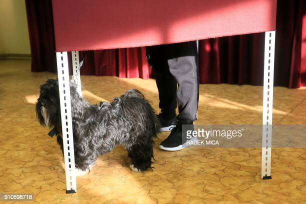 A voter casts his ballot with his dog at a polling station in Lysolaje district of Prague Czech Republic on January 26 2018 during the second round...