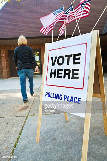 Voter Entering US Polling Place for Voting Vertical