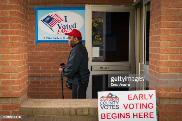 A voter exits a polling place during early voting at the Bordeaux Branch of the Nashville Public Library October 30 2018 in Nashville Tennessee...