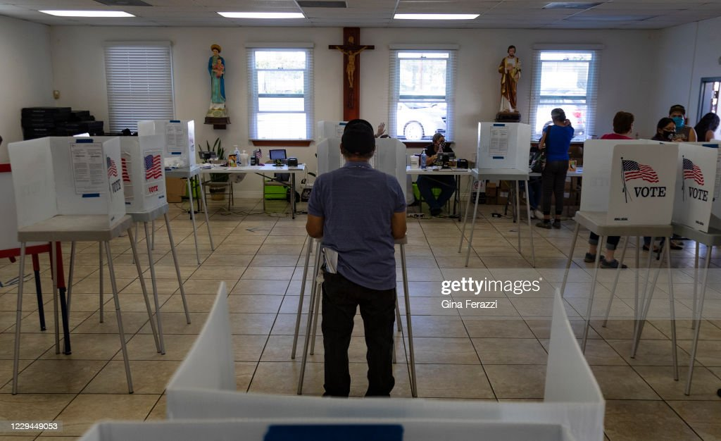 Voters  on Election day in Fontana, CA. : News Photo