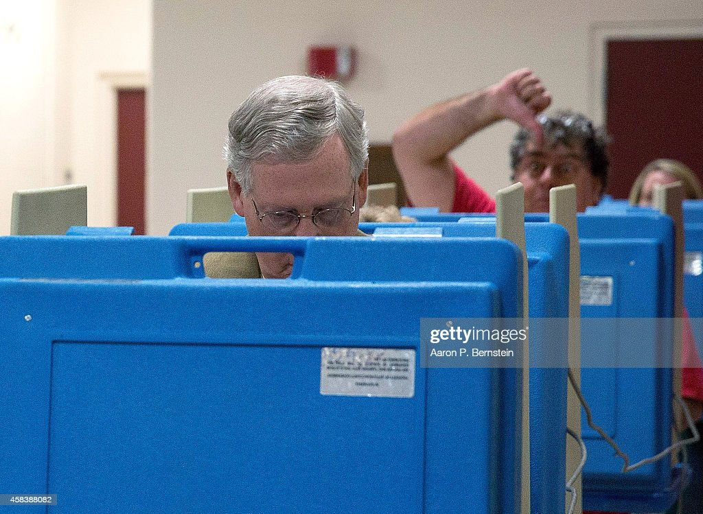 Sen. Mitch McConnell (R-KY) Casts His Vote In Midterm Elections : News Photo