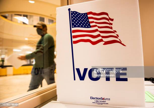 Voter leaves after filling out their ballot at the Beltrami County Administration building on September 18, 2020 in Bemidji, Minnesota. Early voting...