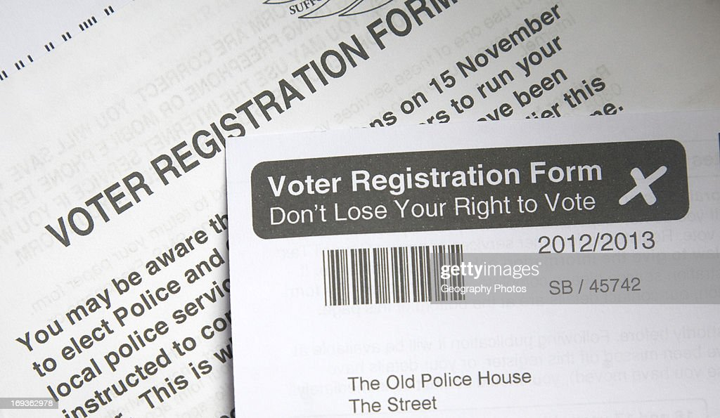 Voter Registration Form Right To Vote Uk Pictures  Getty Images