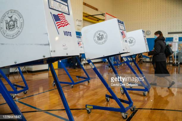Voter walks to a booth to fill out their ballot at Public School 160 on November 3, 2020 in the Brooklyn borough of New York City. After a...