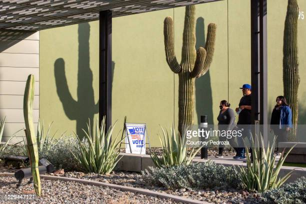 Voters arrive at the Eloy City Hall polling location on November 3, 2020 in Eloy, Arizona. After a record-breaking early voting turnout, Americans...