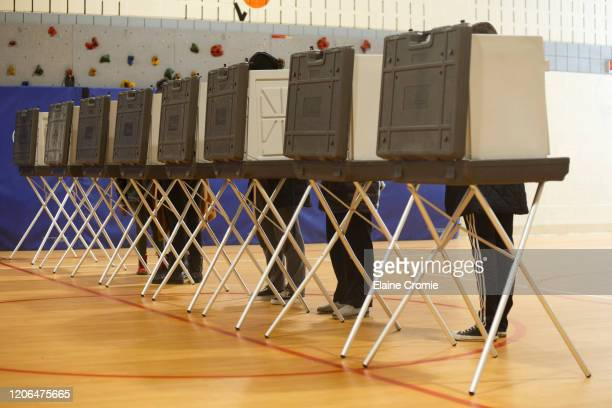 Voters cast their ballots at a polling place at Cromie Elementary School on March 10, 2020 in Warren, Michigan. Michigan is one of six states voting...